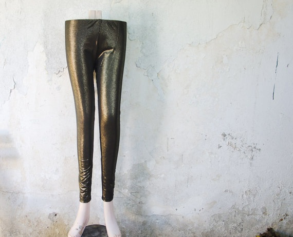 Dark Gold Leggings, Metallic Womens Tights. $40.50, via Etsy.