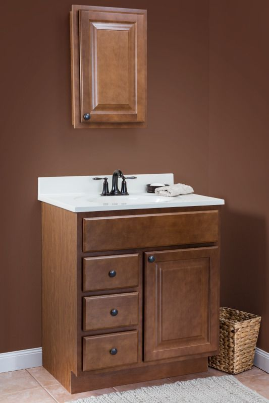 Saginaw In Chestnut Stain On Cultured Marble Linen Vanity Top Featuring Wolf Clic Cabinets