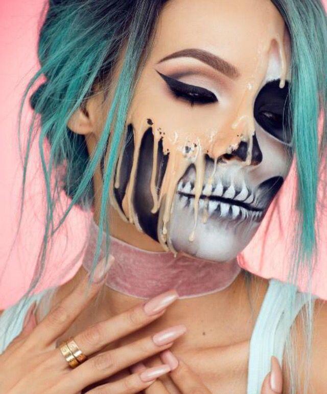 Dripping skull makeup