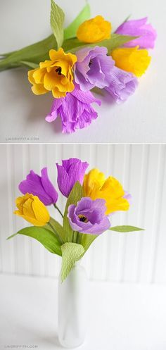 Tutorial de tulipanes de papel crepe para decoraciones de fiestas. #ManualidadesParaFiestas