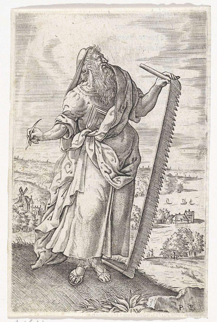 Johannes Wierix   Landschap met de profeet Jesaja, Johannes Wierix, 1571   De profeet Jesaja kijkt op naar de hemel. In zijn ene hand houdt hij een pen, in zijn andere een grote zaag.