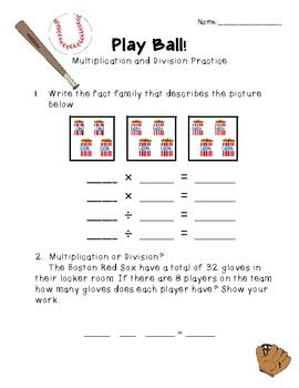 Play Ball! Multiplication and Division Practice