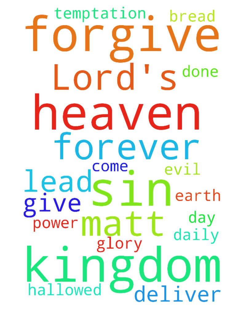 Lord's Prayer - Our Father in heaven, Hallowed be Your Name Your Kingdom come Your Will be done on earth as it is in heaven Give us this day our daily bread And forgive our sins, As we forgive those who sin against us. And lead us not into temptation, But deliver us from evil. Its Your Kingdom, Its Your Power and Its for Your Glory, Forever Matt 6914. In The Name of Jesus, Amen... Posted at: https://prayerrequest.com/t/Toa #pray #prayer #request #prayerrequest