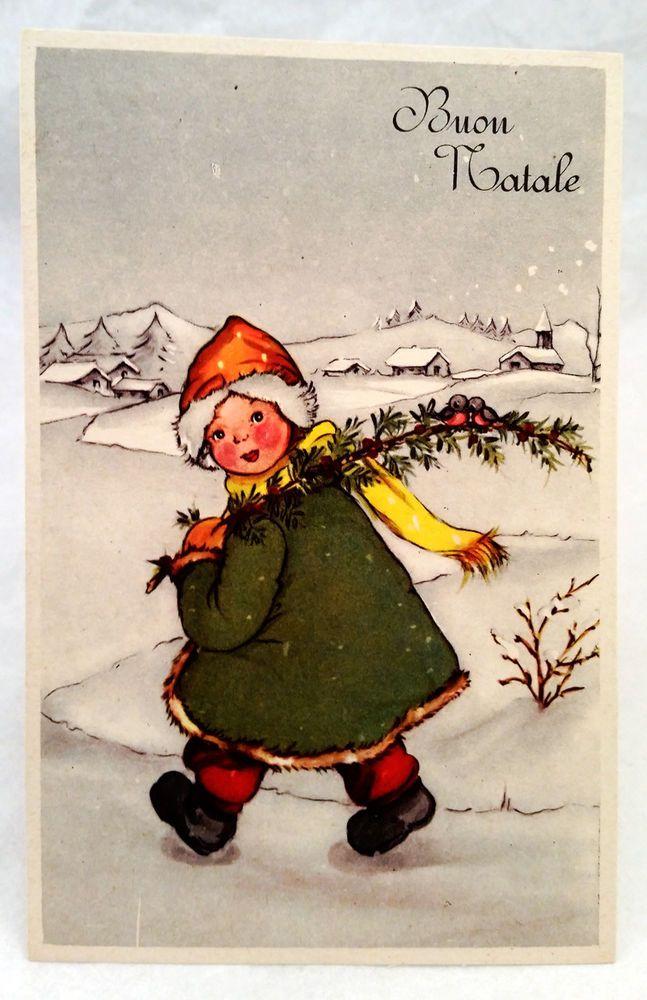 Cartoline Di Natale Anni 30.Dettagli Su Cartolina D Epoca Buon Natale Bimba Con Ramo