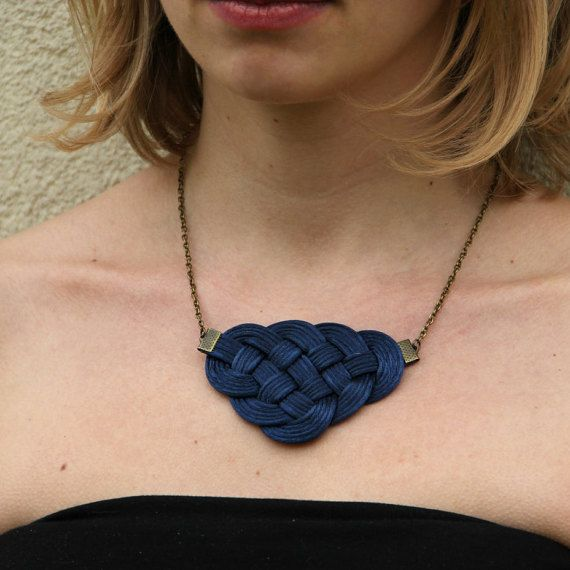 Navy blue knot satin rope statement necklace by SophiesKnotShop