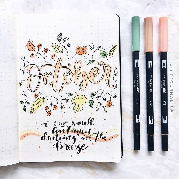 """1,822 Likes, 31 Comments - s a b i n a  the journal tea (@thejournaltea) on Instagram: """"Hello October!  . . . #bulletjournaldecoration #bulletjournaldoodles #bulletjournaldeutschland…"""""""