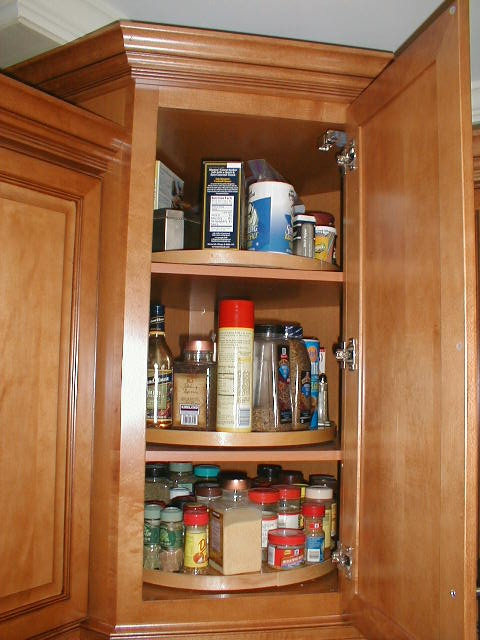 lazy susan for corner cupboard...my mom taught me this one!