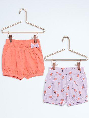 Pack de 2 pantalones cortos de algodón                                                                                                                                                                                                 Melocoton/pùrpura Infantil niña