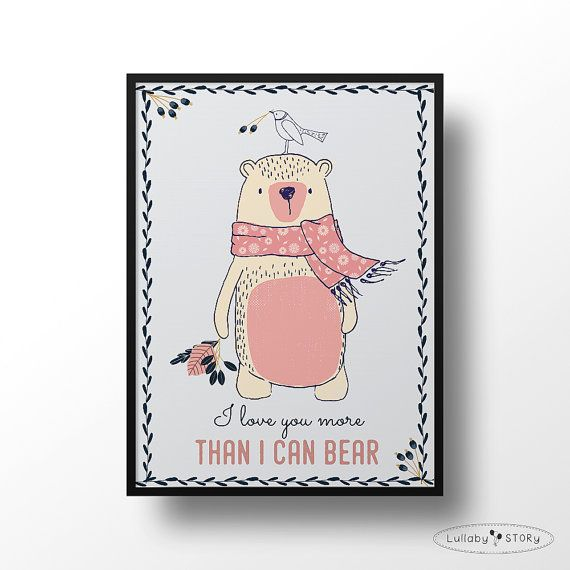 Kids poster-Bear illustration-I love you more than by LullabySTORY