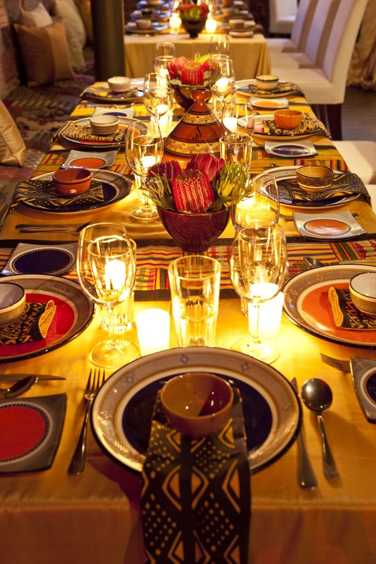 A beautiful African table setting! Love the candles.
