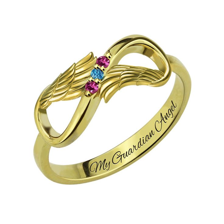 Three Stone Infinity Angel Wings Gold Ring