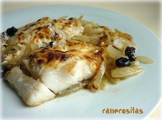 Bacalao encebollado y gratinado (Cocina Tradicional) - Recetariocanecositas.com