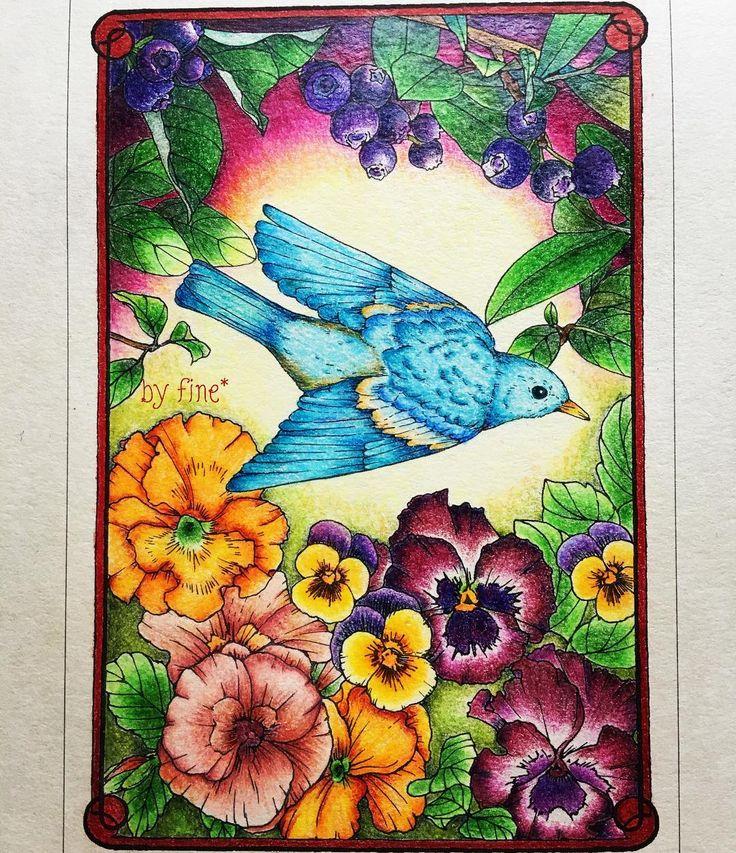 いいね!111件、コメント23件 ― fine*さん(@fine1109)のInstagramアカウント: 「完成しました(^-^)💕 鳥=幸せの青い鳥って言う先入観を、 自分の中から消してしまおう‼と思うようになれた作品となりました。 no.41 🎨farbercastellpolychromos…」