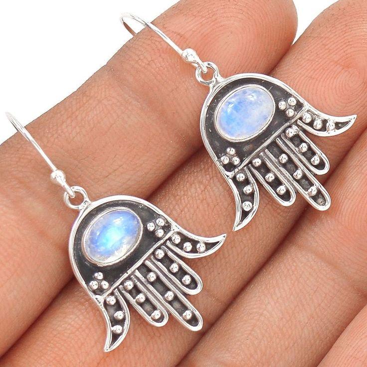 Hamsa Hand - Rainbow Moonstone 925 Sterling Silver Earrings Jewelry SE130106 | eBay