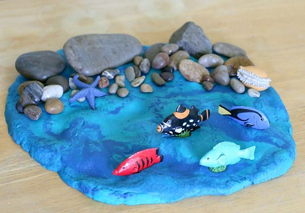 Ocean Animals Books Activity - Rocky Shore Small World with Ocean Playdough @buggyandbuddy