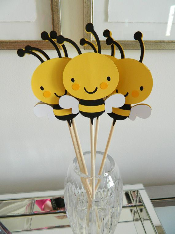 6 Bee Centerpiece Sticks Baby Shower By 2muchpaper On Etsy