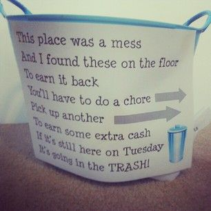 Kids Chores! Great idea to keep a bit more tidiness around the