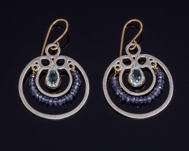Blue topaz earrings - Sterling silver, Gold-filled silver by JackAssayagJewelry on Etsy