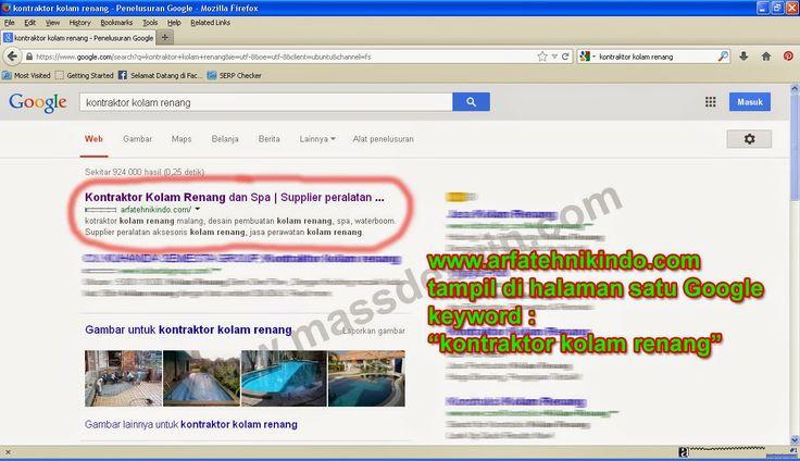 kontraktor kolam renang akhirnya tampil di HALAMAN SATU Google... Selamat dan Sukses buat www.arfatehnikindo.com
