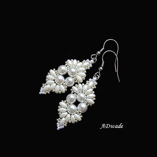 ADwade / Korálkové náušnice Snehulienka