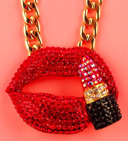 Patricia Field-- Lips & Lipstick Necklace