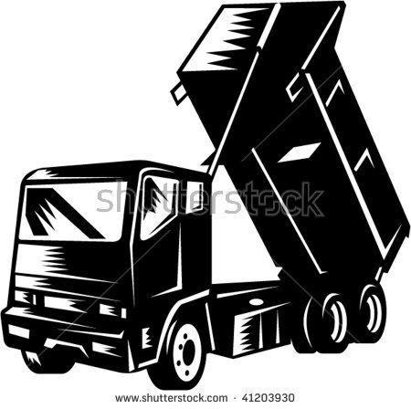 illustration of a dump truck isolated on white  #dumptruck #woodcut #illustration