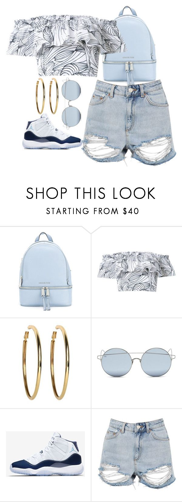 """""""Untitled #113"""" by tess1800 on Polyvore featuring MICHAEL Michael Kors, Isolda, Kenneth Jay Lane, For Art's Sake, NIKE, Topshop and Blue"""