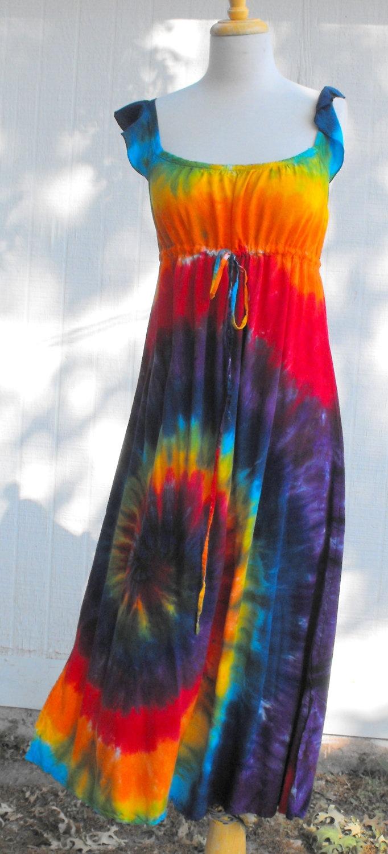 tie dye classic rainbow swirl regency hippie dress