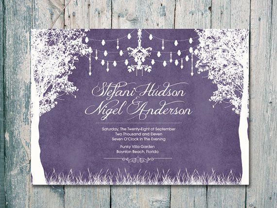 Printed Card - Digital Printable Files - Purple - In the Winter Garden Wedding Invitation RSVP Thank You Invitation Set - ID80P