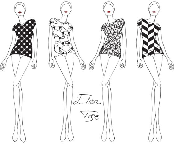 It's been forever since I've posted something (I was really busy lately). But now here I am with brand new ideas, like this 4 transparent tops. Each top has a stylish pattern that makes it interesting in it's own way. I made the sketch black&white to wide up the possibilities of your own imagination. This sketch is something you can imagine in any kind of color (and it will still look awesome). Hope you like it!