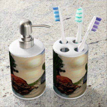 Desert Oasis Southwestern Abstract Art Soap Dispenser And Toothbrush Holder - western style diy unique customize stylish