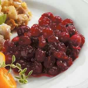 "Spiced Cranberry Sauce Recipe- Taste of Home, contest winning: 12 oz fresh cranberries, 1-3/4 c sugar, 1/2 cup water 1/2 t  cinnamon, 1/2 t allspice, 1/8 t salt, 1/8 t ginger, 1/8 t cloves. In saucepan, combine all ingredients. Bring to a boil. Reduce heat; simmer, uncovered, until the berries pop and mixture is thickened, about 30"". Cool. Transfer to a serving bowl; cover & refrigerate until chilled. Yield: 2 c."