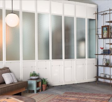 The Frankford Panel System in white with brass hardware