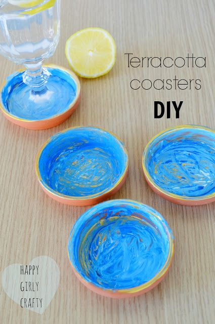 Painted terracotta coasters DIY!