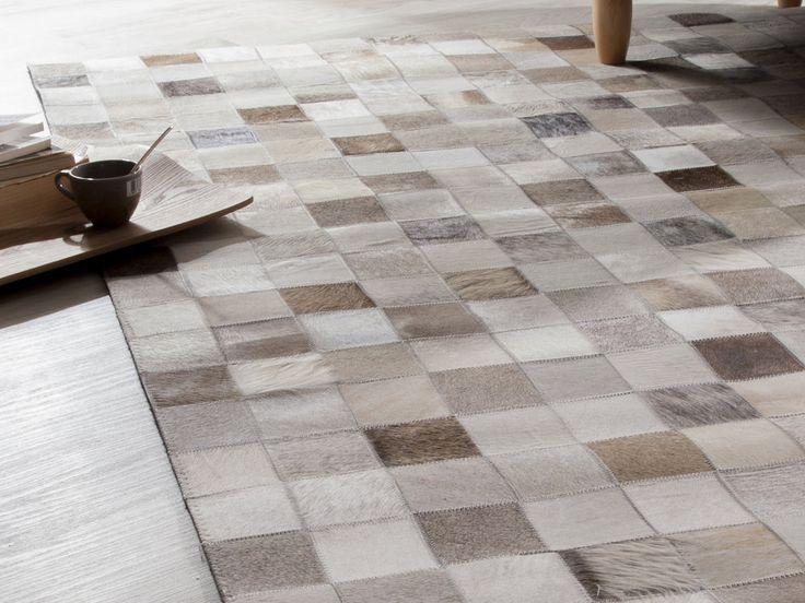Tapis 100% cuir motifs carreaux effet patchwork KIMIA