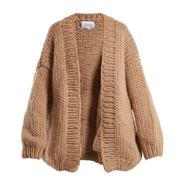 I Love Mr Mittens The Cardigan balloon-sleeved wool cardigan ($449) ❤ liked on Polyvore featuring tops, cardigans, camel, camel top, wool top, chunky knit cardigan, woolen tops and loose fit tops