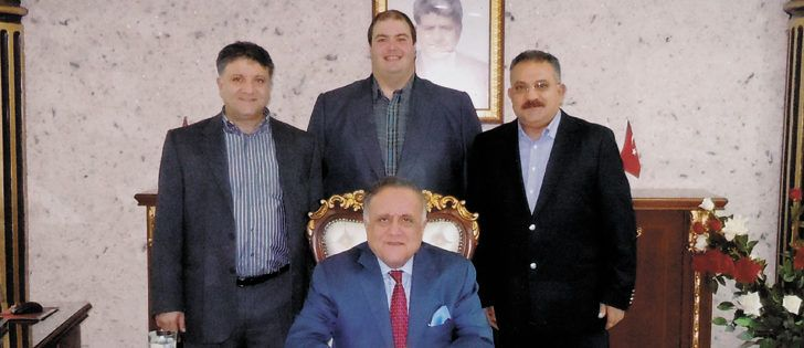 An alliance between the Arslan family of Turkey and Murad Al-Katib of Saskatchewan has resulted in the world's largest lentil processing company. In the back row from left to right is Huseyin Arslan, Murad Al-Katib and Hasan Arslan and seated in the front row is Mahmut Arslan.     AGT photo