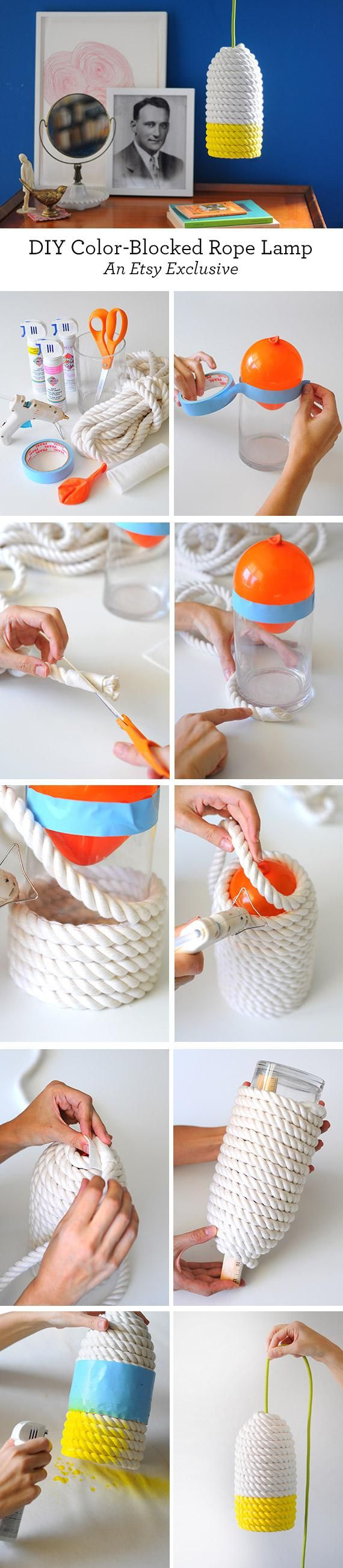 DIY Lampe aus Seil mit Colour Blocking. Pendelleuchte selbst machen, Hängeleuchte basteln https://blog.etsy.com/en/2015/craft-a-colorful-rope-lampshade/?utm_campaign=Merch&utm_medium=Internal&utm_source=Pinterest