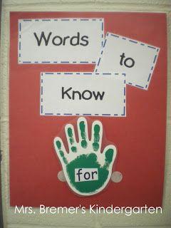 High Five! Sight Word chart {by Anita Bremer}
