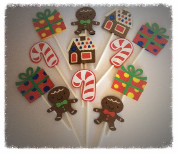 12 Gingerbread Inspired cupcake toppers by 2inspiredcrafters