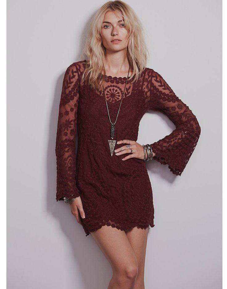 Wine Red Long Sleeve Embroidery Crochet Sheer Shift Dress 12.79