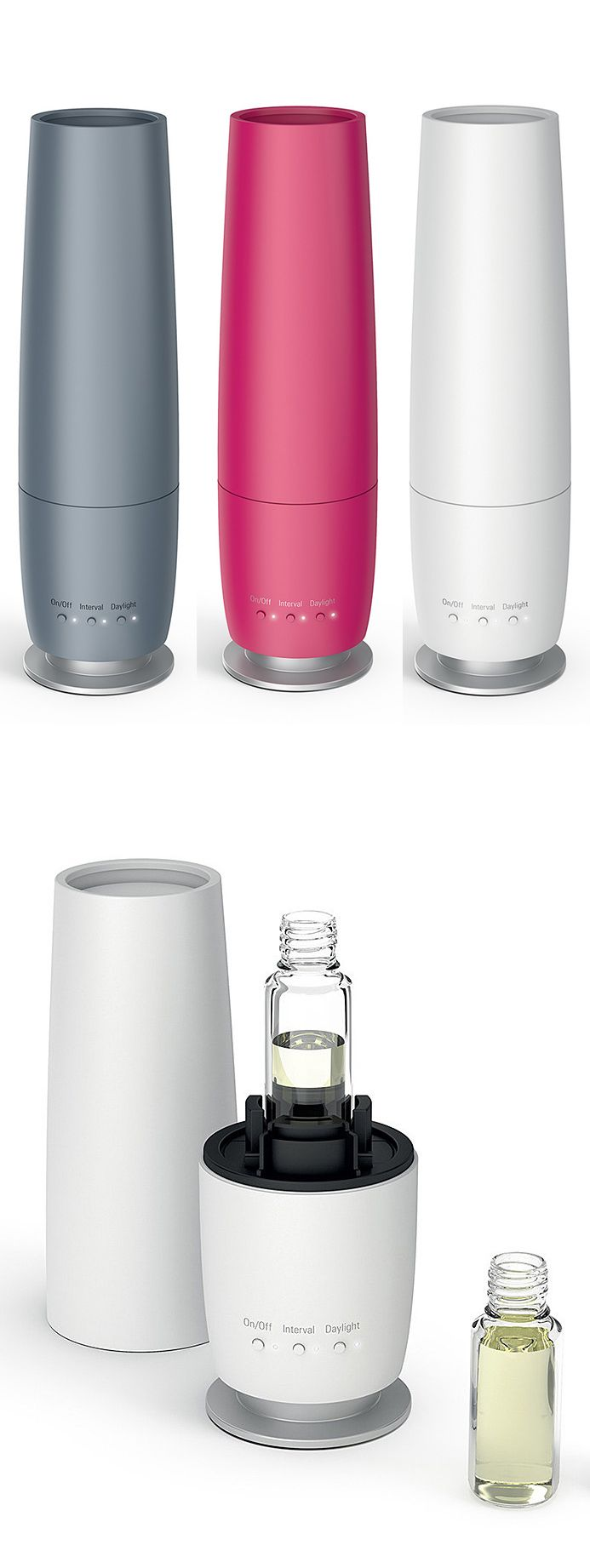 Lea Aroma Diffuser - Simply fill the tank with an essential oil. Has a continuous interval function that releases a steady stream every 10 minutes followed by a 20-minute break.