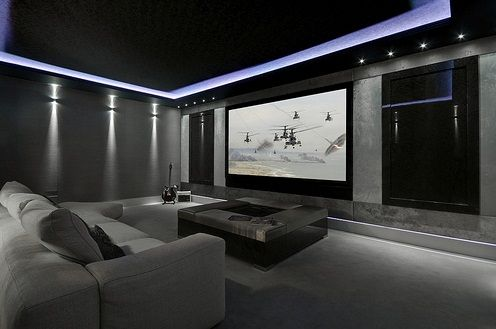 Purple and grey home theater