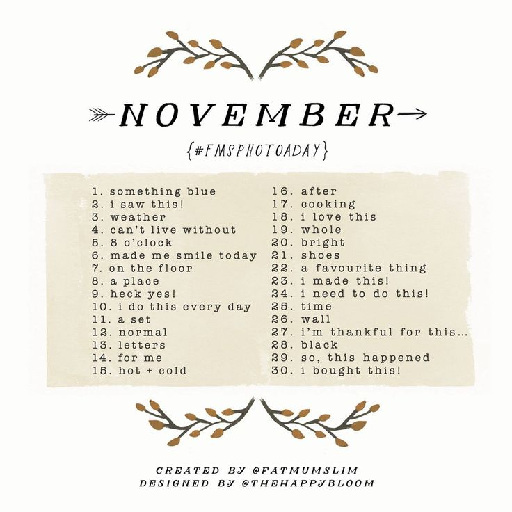 Grab your camera. It's time to have some fun. See the November Photo A Day 2014 list, and find out how to play. Join us!