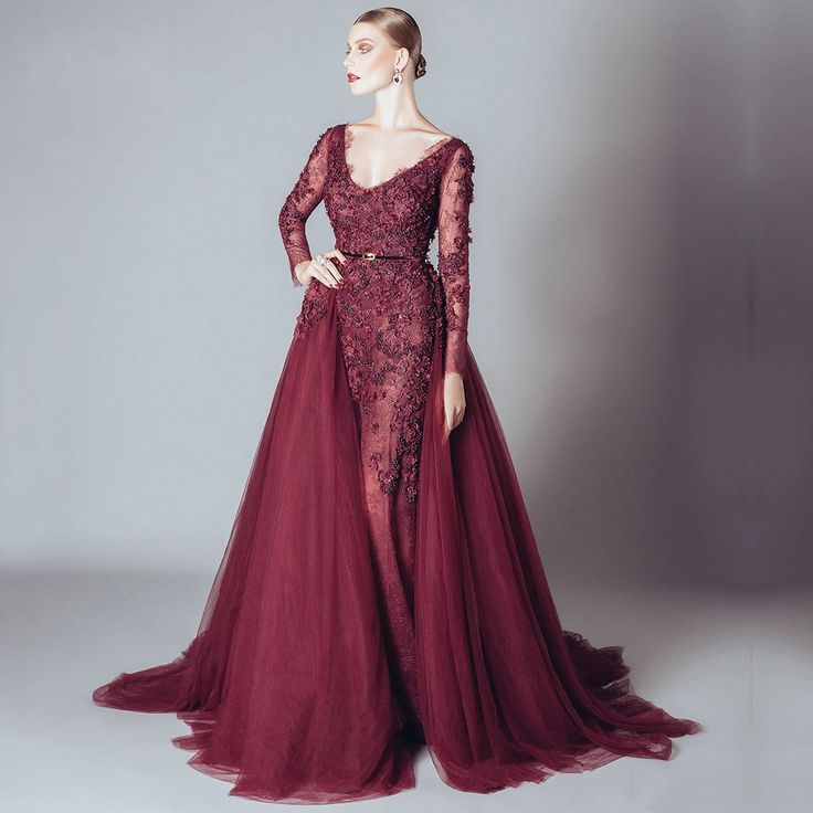 ==> [Free Shipping] Buy Best Long Sleeve Lace Evening Dresses Party Tulle Beaded A Line Crystal Burgundy Formal Evening Gowns for Women Robe De Soiree 2016 Online with LOWEST Price   32711438991