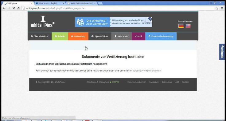 Whitepins+ Video Tutorial Deutsch Auszahlung 343 Euro auf meinem PayPal Konto! Viel Spaß beim Anschauen