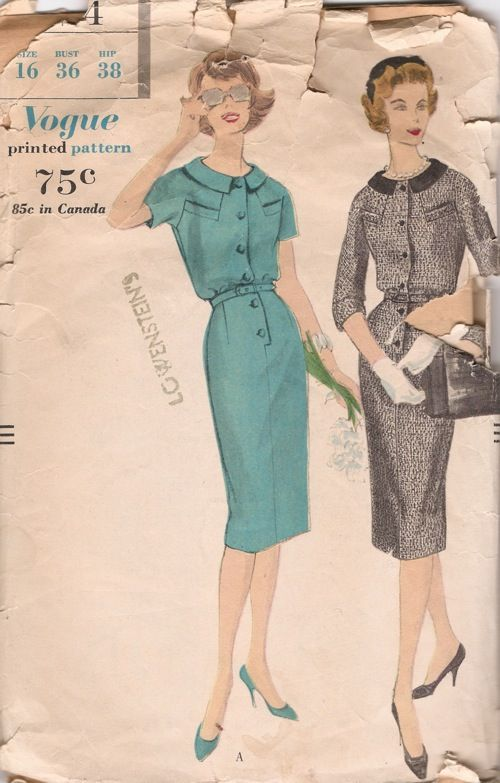 Vogue 9724; ©1959; One Piece Dress. Slim skirt with released inverted pleat joins the bodice at the waist-line. Buttoned front closing below...Vogue 9724, Buttons Front, Slim Skirts, Sewing 1959, Piece Dresses, Release Inverted, Front Close, Pleated Join, Inverted Pleated