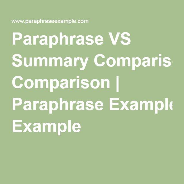 Paraphrasing a sentence vs