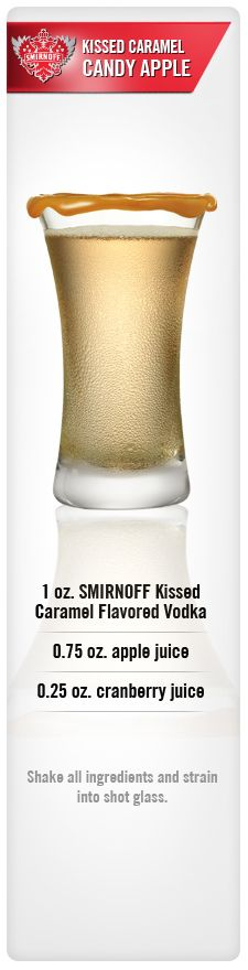Smirnoff Kissed Caramel Candy Apple drink recipe with Smirnoff Kissed Caramel Flavored Vodka, apple juice & cranberry juice. (I dig your pinnin style aunt Tammy!)