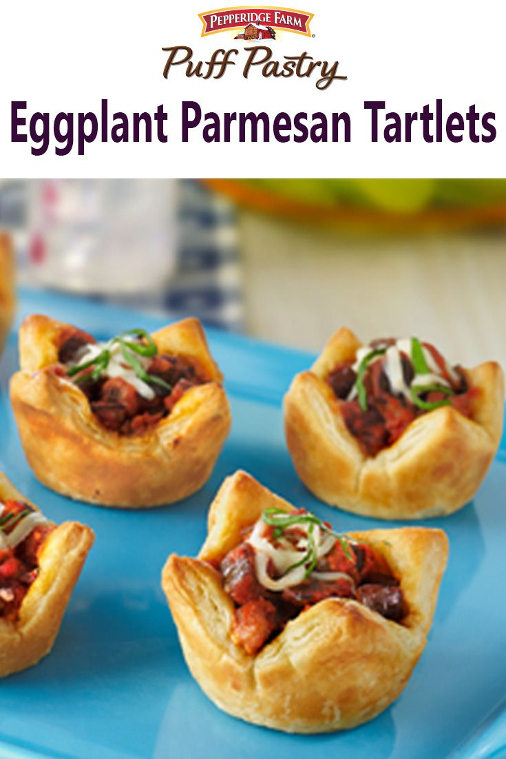 ... tarts! Individual Puff Pastry tarts are topped with eggplant, sauce